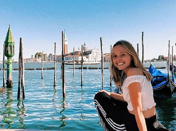 Margaret Yates in Venice, Italy in October before enjoying a heart-shaped pizza by the water. Courtesy photo