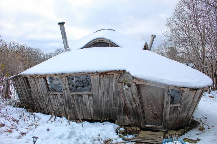 A yurt on Thomas Road Rindge is the design of Bill Coperthwaite, who is considered the pioneer of yurt building in the United States.  Staff photo by Ashley Saari