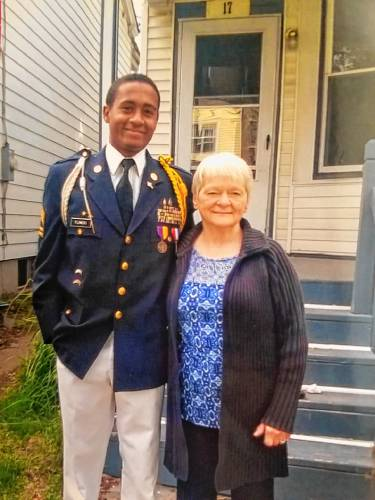 Michael Flowers, a 20-year-old Franklin Pierce University student who died unexpectedly earlier this month, with his grandmother. Courtesy photo