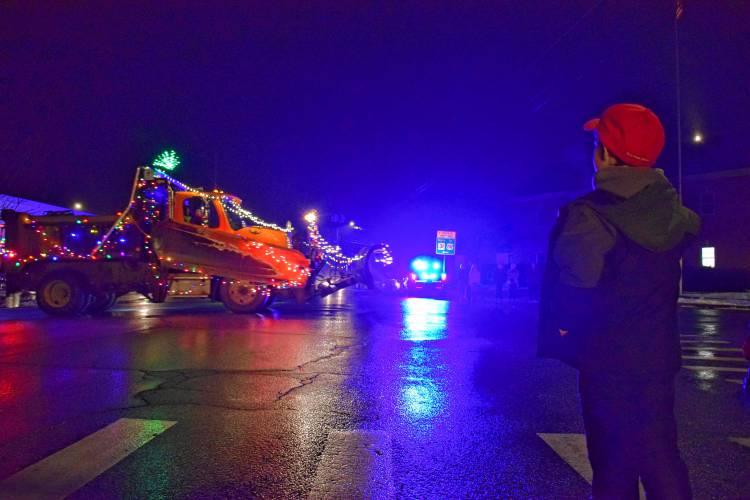 Bennington added a light parade to its Christmas tree lighting Sunday night. Staff Photo by Meghan Pierce