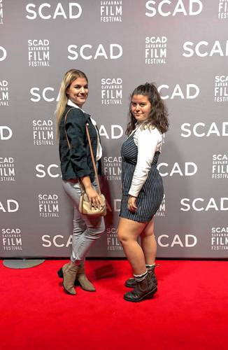 Kylie Procita (right) and friend Paige (left) at the Savannah College of Art and Design film festival, where they were covering the event as film majors. Courtesy photo